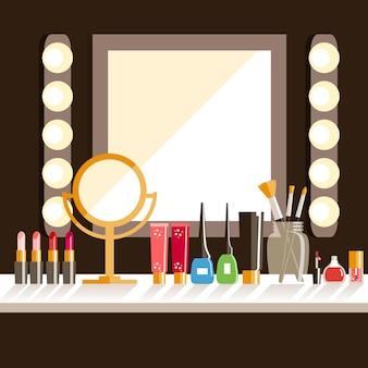 Appartamento sul posto di lavoro del makeup.