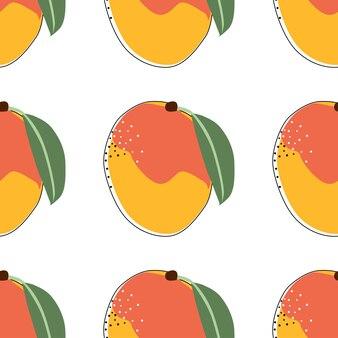 Illustrazione di vettore del fondo senza cuciture del mango piatto. frutti esotici. modello per il design di uno stile di vita sano. stile scandinavo. sfondo estivo vegetariano. arte della cucina. manifesto fresco.