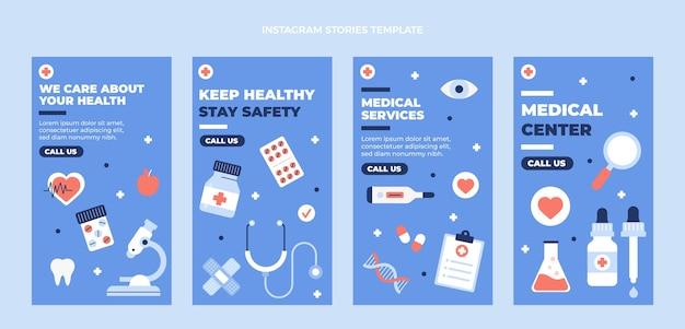 Storie mediche di design medico piatto ig