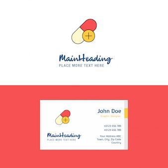 Logo di medicina piatta e modello di biglietto da visita.