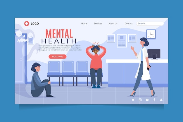 Pagina di destinazione piatta per la salute mentale