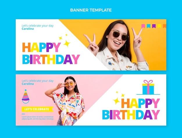 Banner orizzontale piatto minimo compleanno
