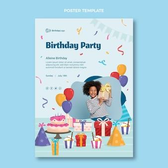 Poster di compleanno piatto minimal