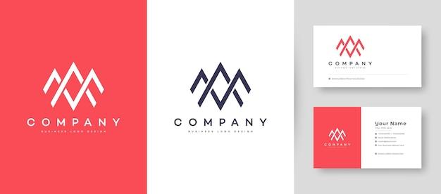 Logo piatto minimal corona iniziale a, ma e am con modello di progettazione di biglietto da visita premium