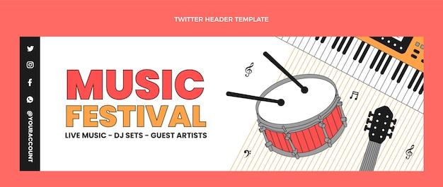 Intestazione twitter piatta e minimale del festival musicale