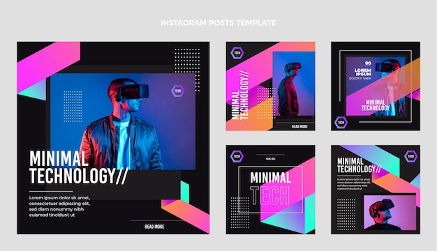 Post di instagram con tecnologia minimale piatta