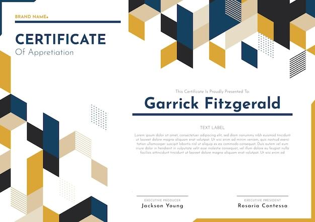 Modello di certificato di apprezzamento moderno piatto