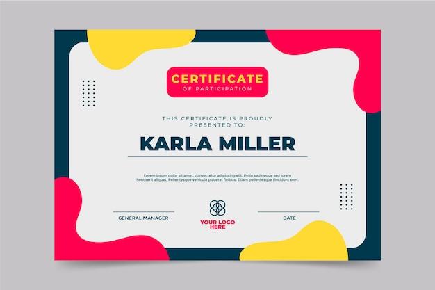 Modello di certificato di partecipazione moderno piatto