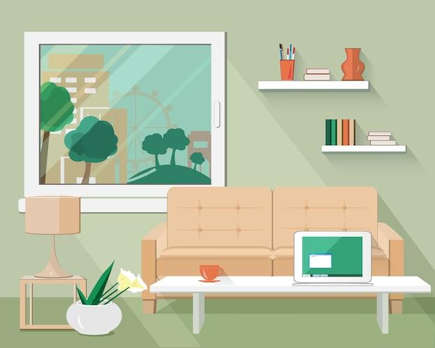 Set soggiorno moderno piatto con divano, tavolo, lampada, vaso di fiori e finestra.