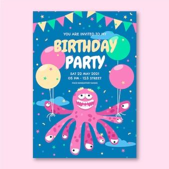 Modello dell'invito di compleanno di mostri piatti