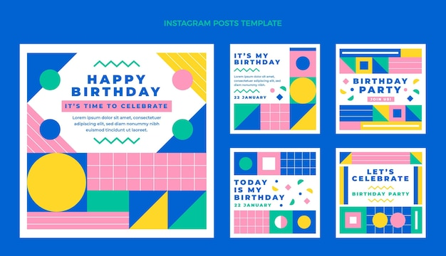 Collezione di post instagram di compleanno a mosaico piatto