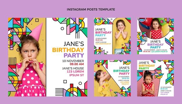 Post di instagram di compleanno a mosaico piatto