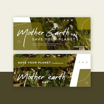 Banner piatto giorno della madre terra con foto