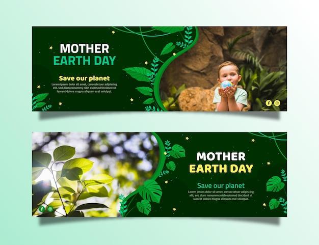 Banner piatto giorno della madre terra con foto Vettore Premium