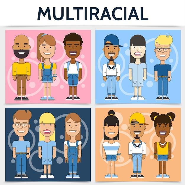 Concetto quadrato di famiglie multirazziali piatte