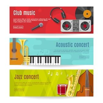 Set di banner musica piatta