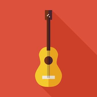 Illustrazione piana della chitarra della stringa di musica con ombra lunga. l'illustrazione di vettore di intrattenimento di arti. oggetto di strumento musicale colorato in stile piatto