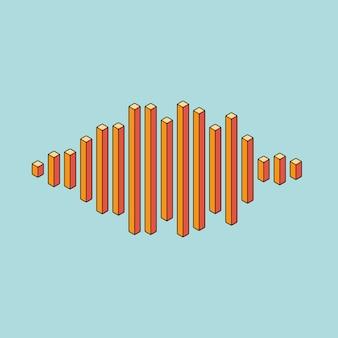 Icona dell'onda di musica piatta fatta di linee di picco