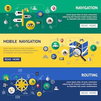 Set di banner di navigazione piatta