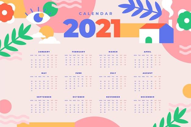 Calendario piatto nuovo anno 2021