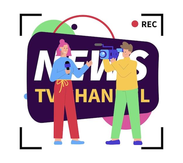 Composizione del canale televisivo di notizie piatte con segni di registrazione cameraman giornalista