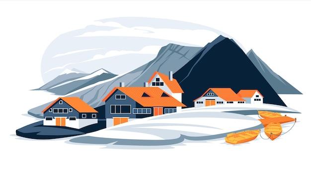 Montagne nordiche piatte e illustrazione del paesaggio del villaggio di pescatori della costa del mare cartoon colorful