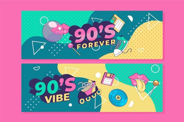 Modello di banner orizzontale piatto nostalgico degli anni '90