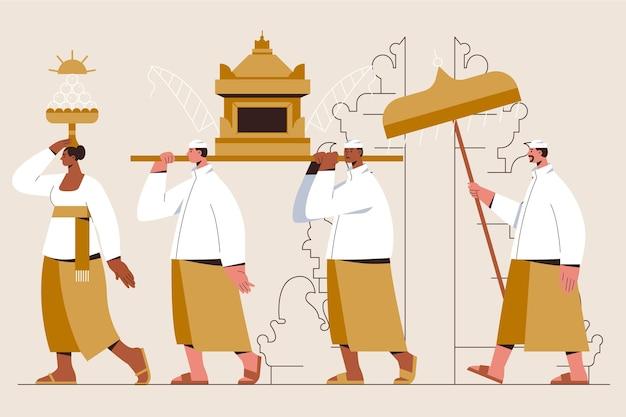 Illustrazione di nyepi piatta