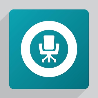 Icona della sedia da ufficio piatta, bianca su sfondo verde