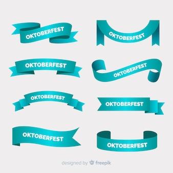 Collezione di nastro piatto più oktoberfest nei toni del blu Vettore Premium