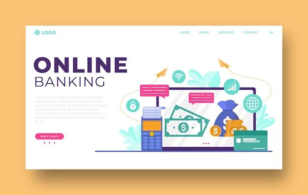 Design piatto della pagina di destinazione del banking online