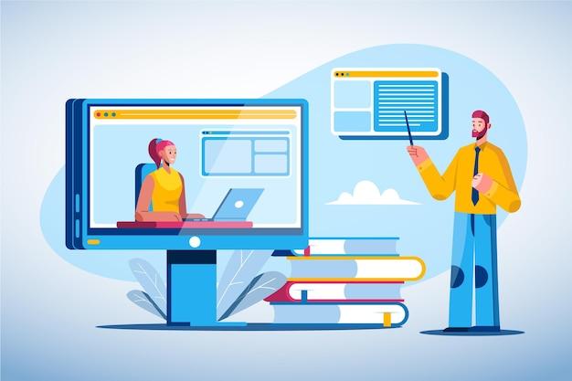 Concetto di apprendimento online piatto