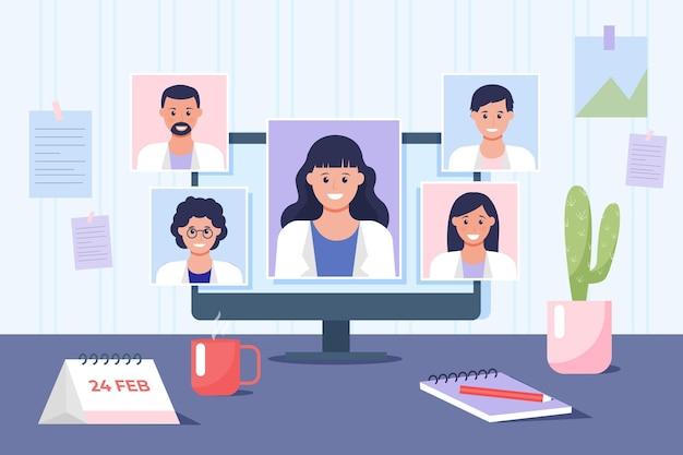 Illustrazione di conferenza medica online piatta