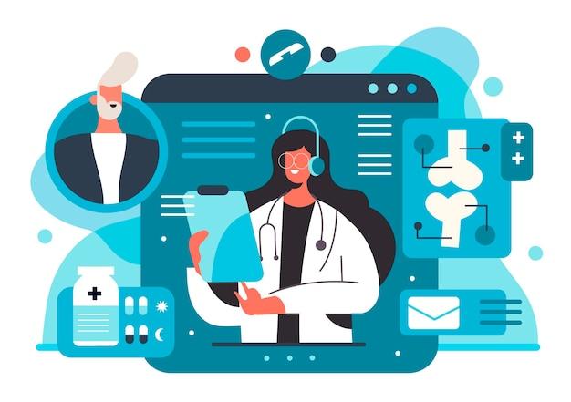 Conferenza medica online piatta