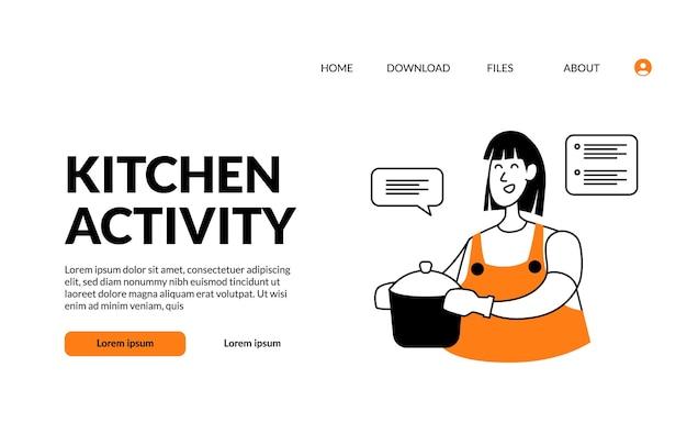 L'attività della cucina dell'illustrazione moderna del profilo piatto porta il cibo in pentola con la faccia felice