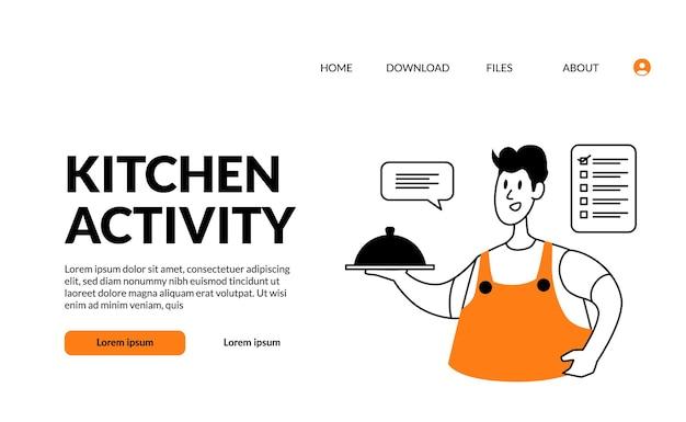 L'uomo di attività della cucina dell'illustrazione moderna del profilo piatto porta il cibo con il coperchio