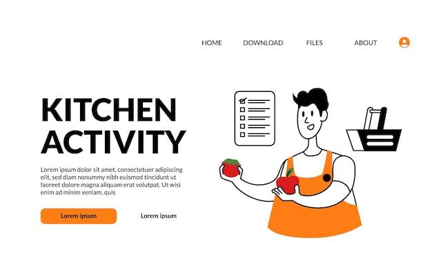 L'uomo di attività della cucina dell'illustrazione moderna del profilo piatto sceglie e sceglie la buona qualità dal prodotto culinario