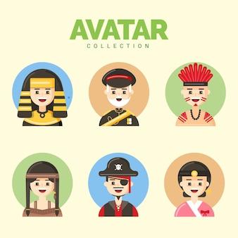 Flat pack di cool avatar maschile illustrazione