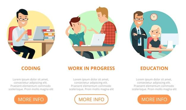 Pagina piatta web design template infografica sito web icone linea sottile illustrazione vettoriale