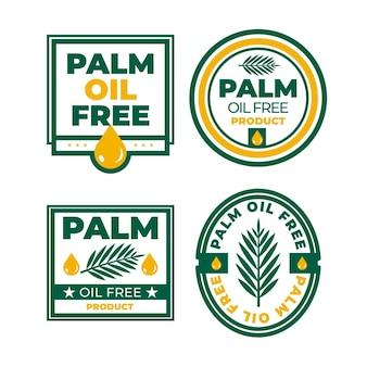 Set di distintivi di olio di palma piatto