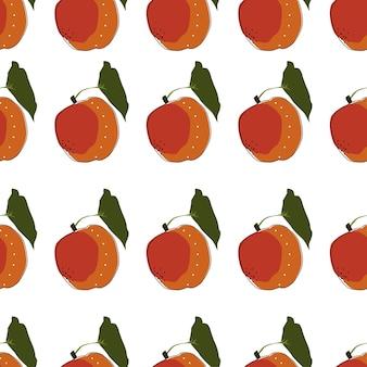 Illustrazione di vettore del fondo senza cuciture piatto pesca. frutti esotici. modello per il design di uno stile di vita sano. stile scandinavo. sfondo estivo vegetariano. arte della cucina. manifesto fresco.
