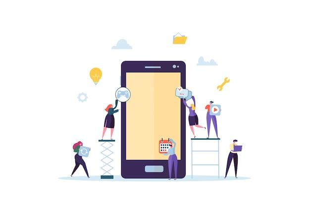 Personaggi di persone piatte che costruiscono applicazioni mobili con icone sullo schermo dello smartphone