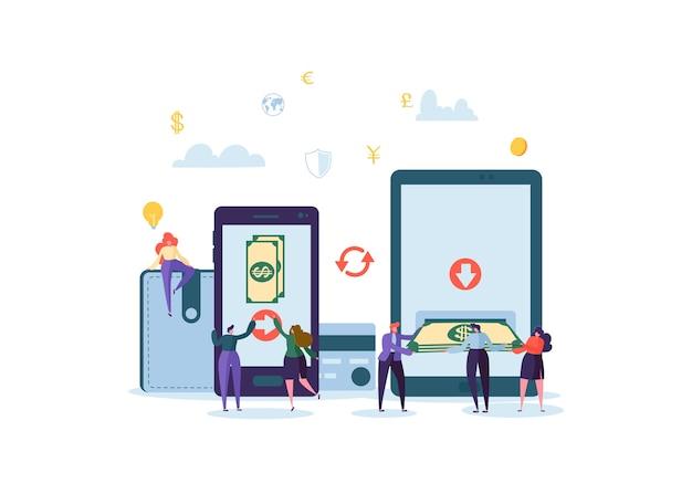 Personaggi di persone piatte che inviano denaro dalla carta di credito tramite l'applicazione mobile su smartphone