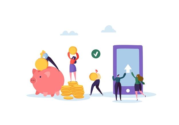Caratteri di persone piatte che inviano denaro dall'applicazione mobile su smartphone