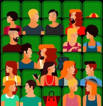 Persone piatte che si siedono al cinema e guardano un'illustrazione vettoriale di film