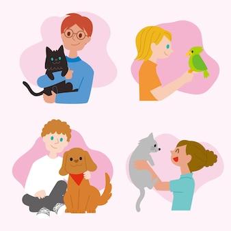 Persone piatte con collezione di animali domestici