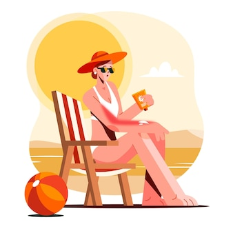 Persona piatta con una scottatura solare in spiaggia