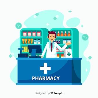 Farmacista piano che assiste alla priorità bassa dei clienti