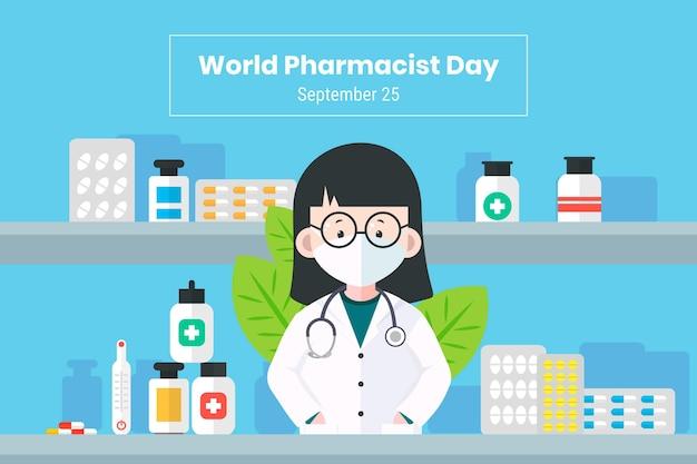Sfondo del giorno del farmacista piatto