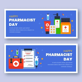Set di banner orizzontali per il giorno del farmacista piatto